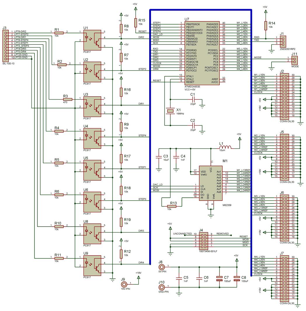 схема контроллеры шаговых двигателей